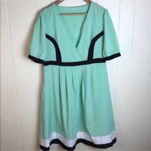 3/$27 Mint Green Plus Size V Neck Fit Flare Dress